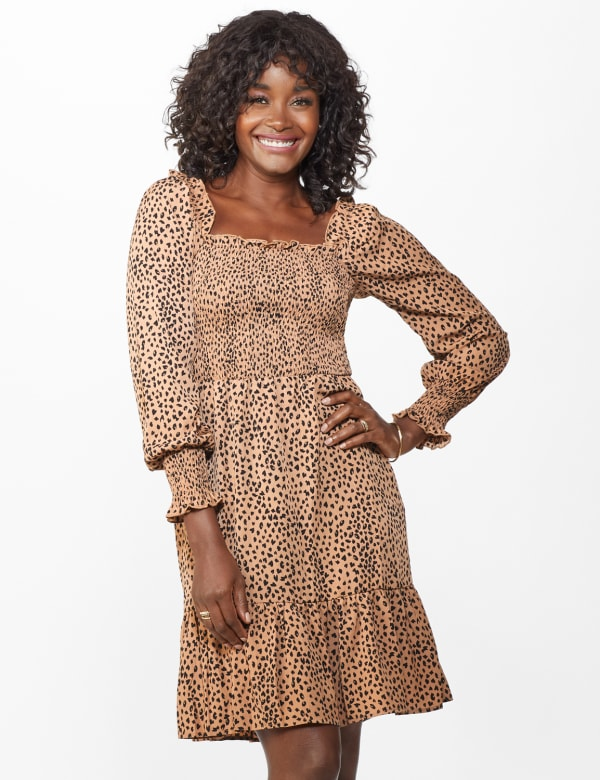 Smocked  Cheetah Dress - Misses - Taupe/Black - Front