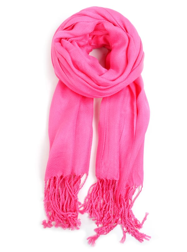 Breast Cancer Awareness Solid Fashion Scarf - Fuchsia - Front