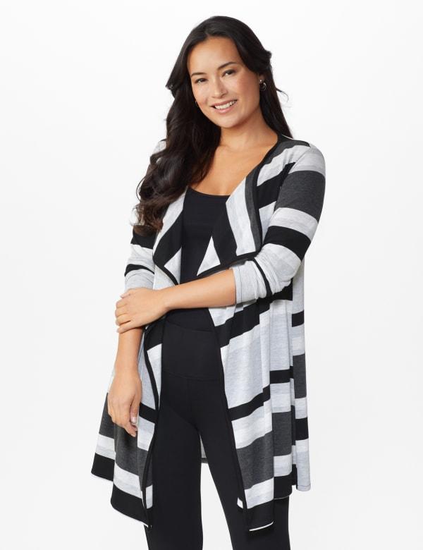 DB Sunday Hacci Sweater Knit Stripe Cardigan  - Misses - Multi - Front
