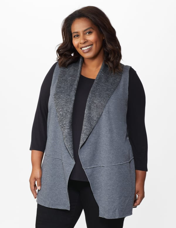 DB Sunday Faux Sherpa Vest - Plus -Grey - Front