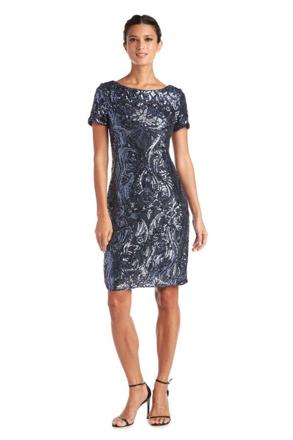 Sequin Short Sleeve Dress - Petite - Gunmetal - Front