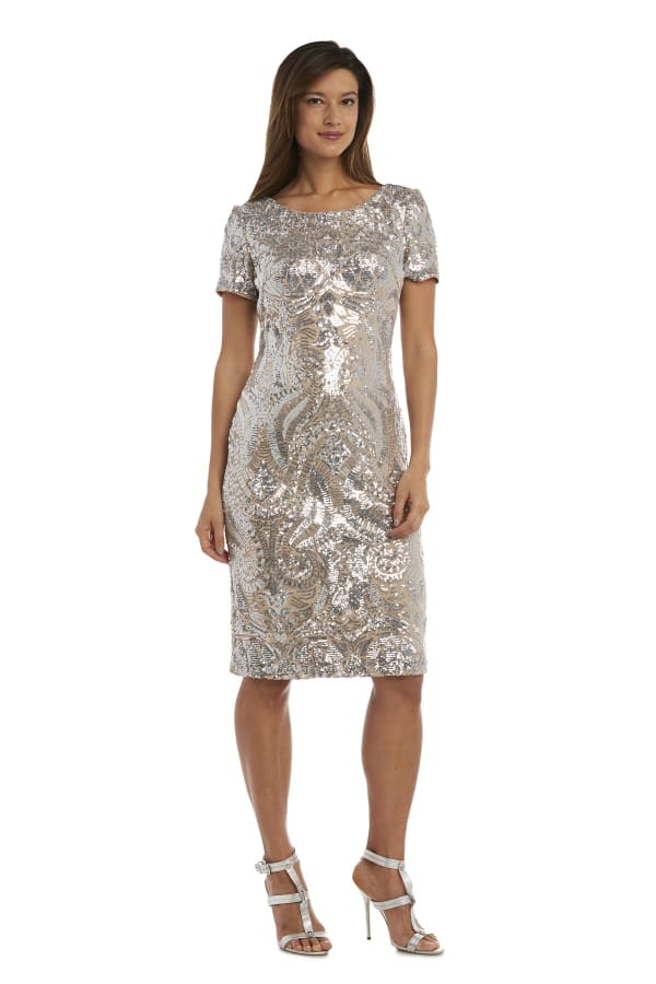Sequin Short Sleeve Dress - Petite - Silver / Nude - Front