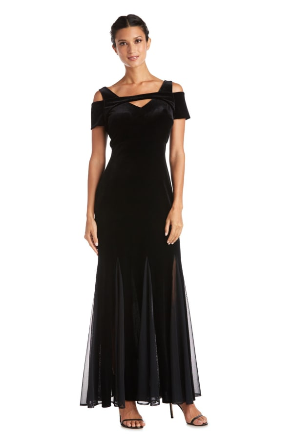 Long Stretch Velvet With Godet Inset Skirt And Cold Shoulder Triangle Cut Out Detailed Bodice - Petite - Black - Front