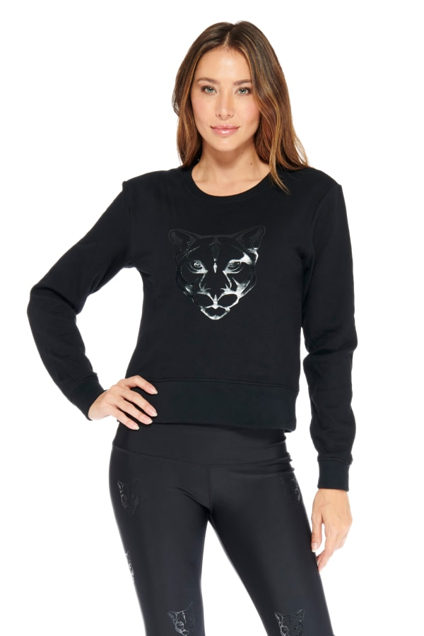 Kendall Panther Sweater - Black - Front
