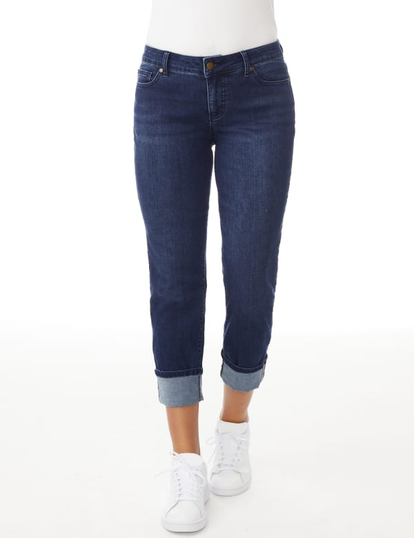 Westport Signature  5 Pocket Girlfriend Jean With Selvedge Cuff - Misses - Dark Wash - Front