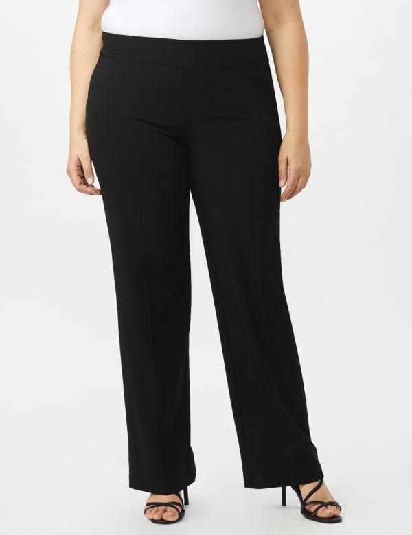 Roz & Ali Plus Secret Agent Tummy Control Pull On Pants - Average Length-Plus - Black - Front