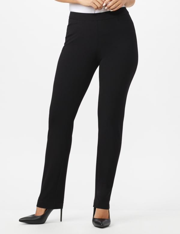 Roz & Ali Secret Agent  Pull on Tummy Control Pants with L Pockets - Average -Black - Front