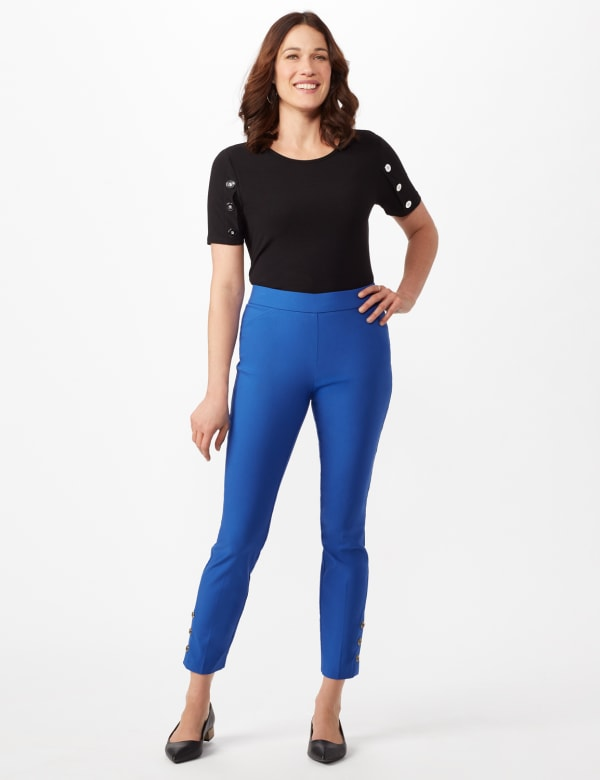 Tortoise Shell Button Ankle Pants - Royal - Front