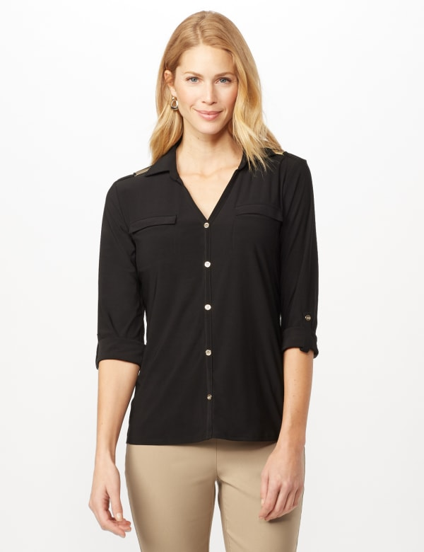 Roll Tab Sleeve Two Pocket Popover Top - Black - Front