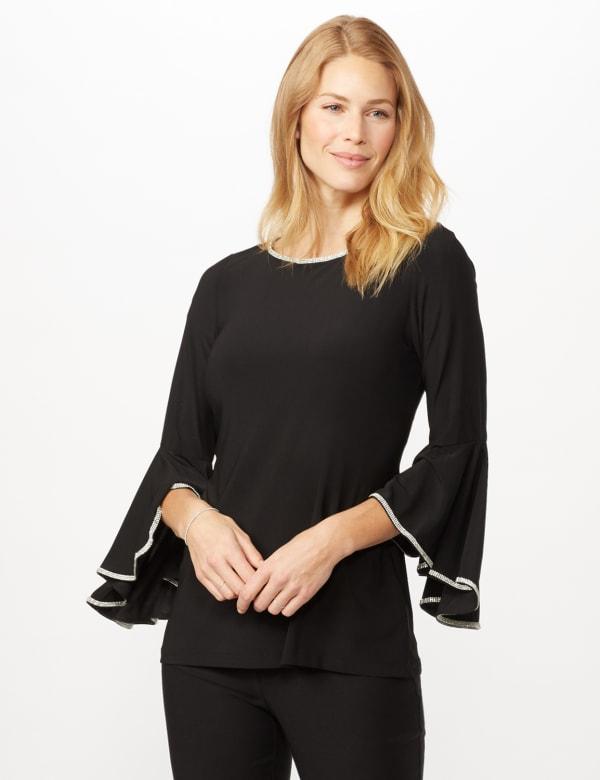 Rhinestone Bell Sleeve Knit Top - Black - Front