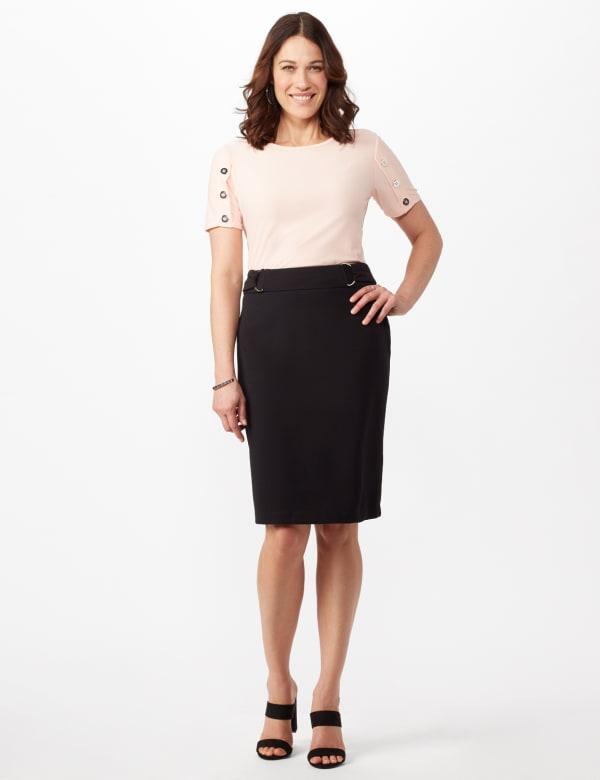 Faux Buckle Pencil Skirt - Black - Front
