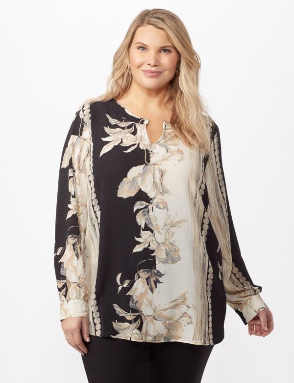 Long Sleeve Placed Floral Woven Top - Neutral - Front