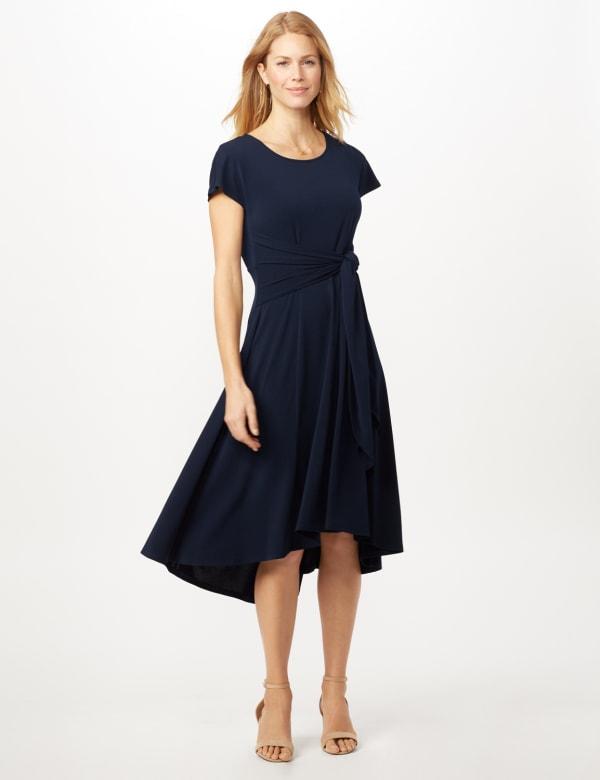 Stretch Crepe Tie Waist Hi-Lo Dress - Navy - Front