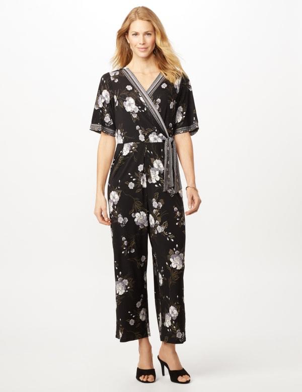 Floral Border Jumpsuit - Black/grey - Front