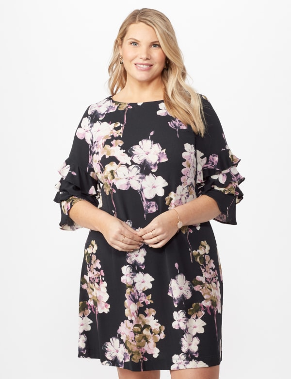 Chacha Sleeve Knit Crepe Floral Sheath Dress - Plus - Navy/lavender - Front