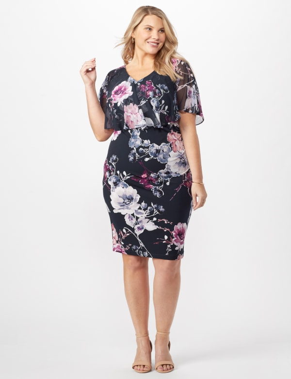 Floral Dress with Chiffon Cape Plus - Navy - Front