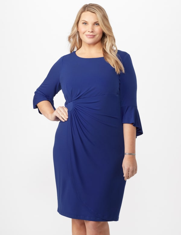 Wrap Dress with Side Ruching -Royal - Front