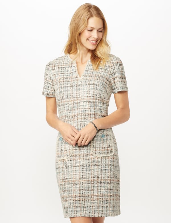 Boucle Two Pocket Dress - Aqua/beige - Front