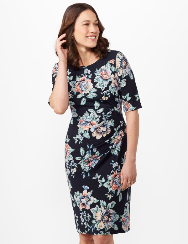 Aqua Floral Dress with Side Ruch - Navy - Front