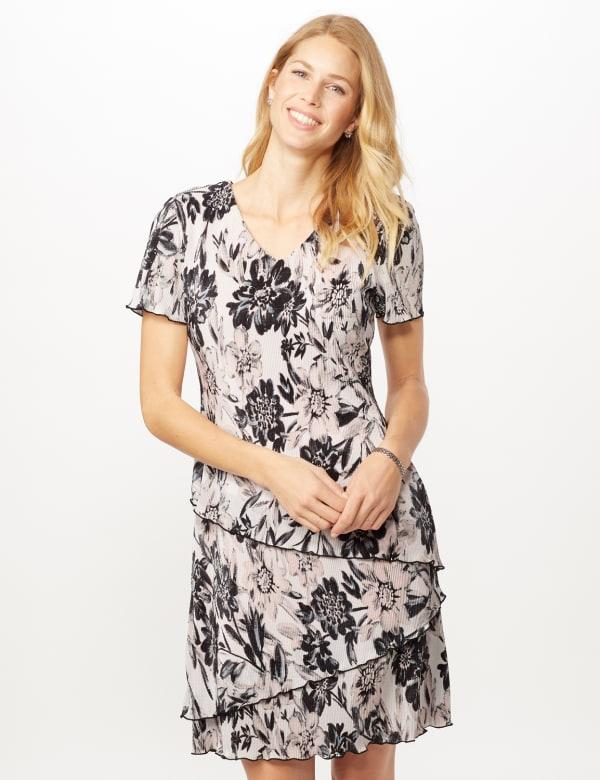 Floral Bodre Tier Dress - White/black - Front