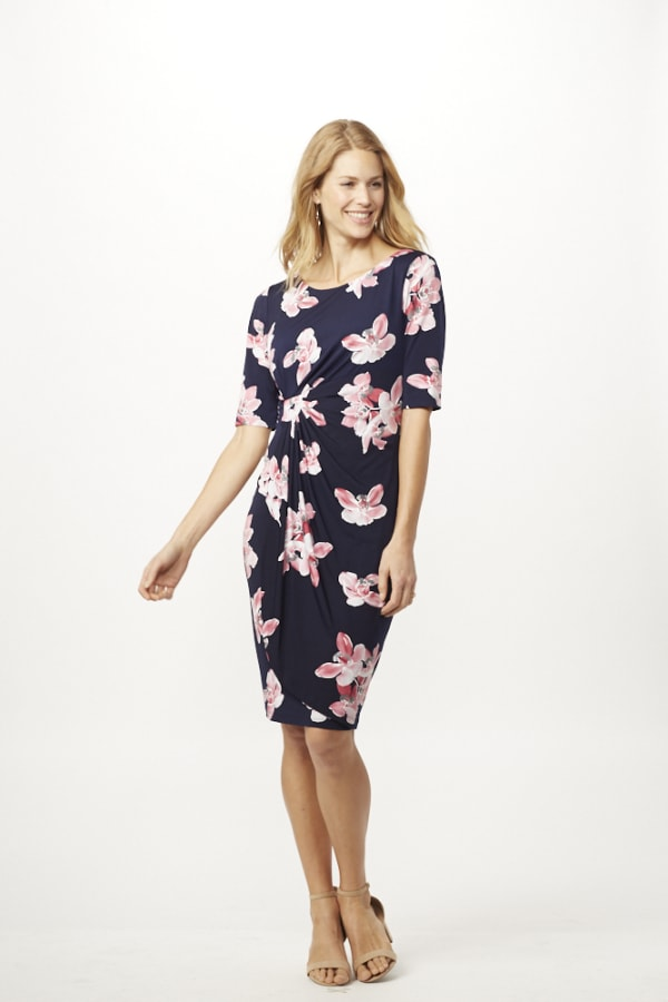 Pink Floral Dress with Side Ruch - Navy/ Mauve - Front
