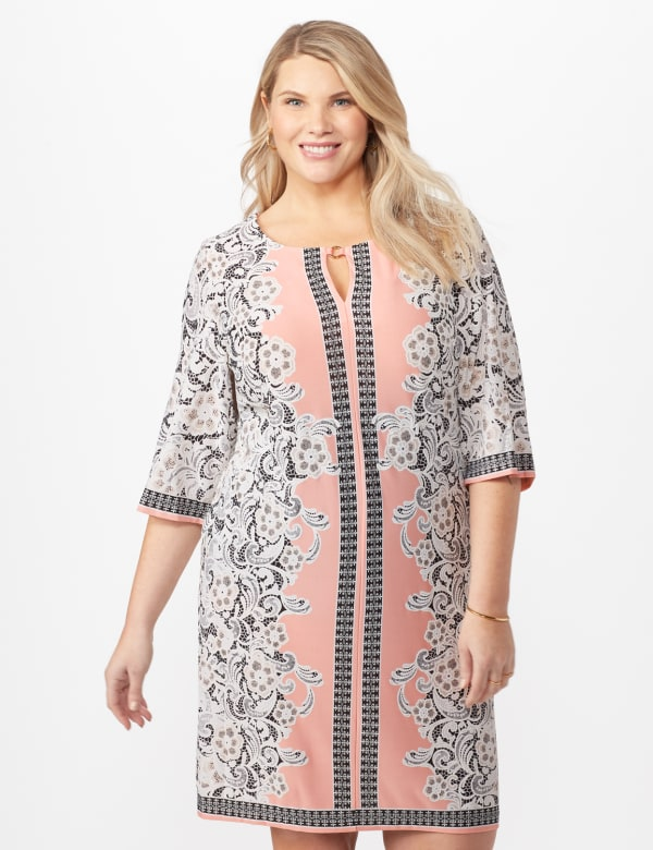 Placed ITY Puff Print Dress- Plus - Blush/ivory - Front