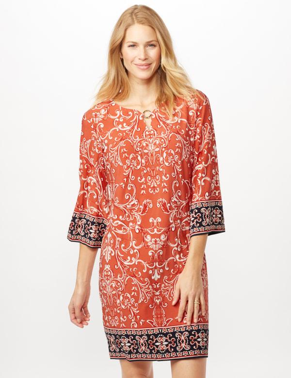 Scroll Puff ITY Border Print Dresss - Orange - Front
