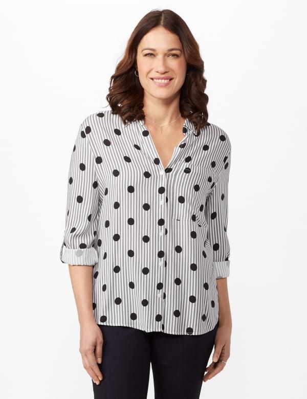 Roll Tab Sleeve Shirt - Black/white - Front