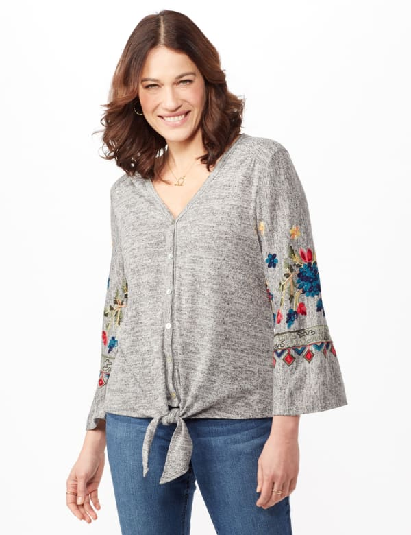 Embroidered Sleeve Hacci Top with Tie Front - Heather Grey - Front