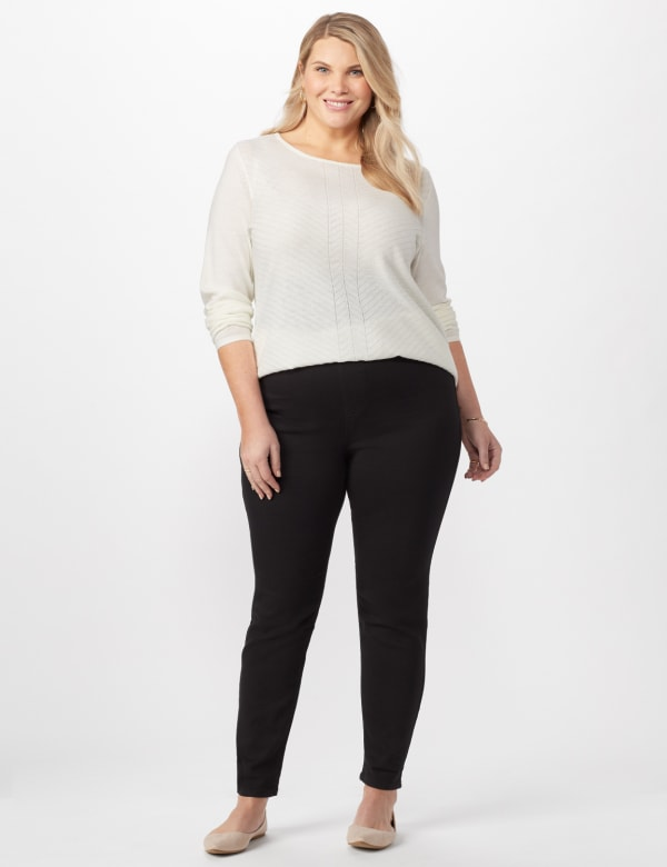 Knit Denim Pull On Jeans - Black - Front