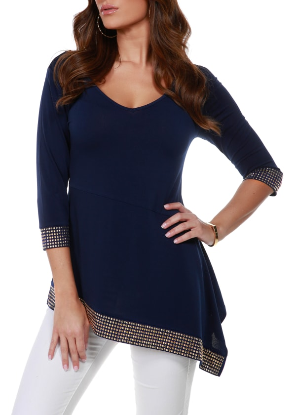 3/4 Sleeve Asymmetrical Hem With Studs - Navy/Gold - Front