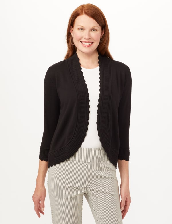 Scallop Trim Cardigan - Black - Front