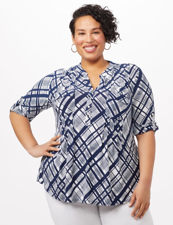 Plaid Knit Popover Top - White/Navy - Front