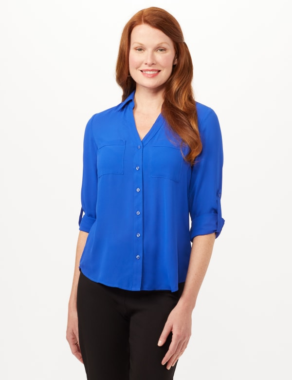 Roll Tab Button Front Woven Top Shirt - Marine Blue - Front