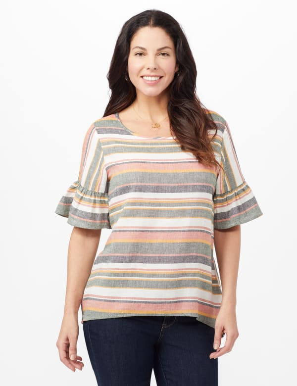 Multi Stripe Linen Top - Multi - Front