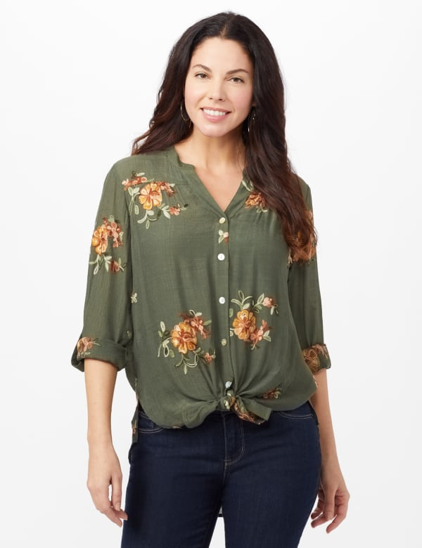Embroidered Button Front Shirt - Olive - Front