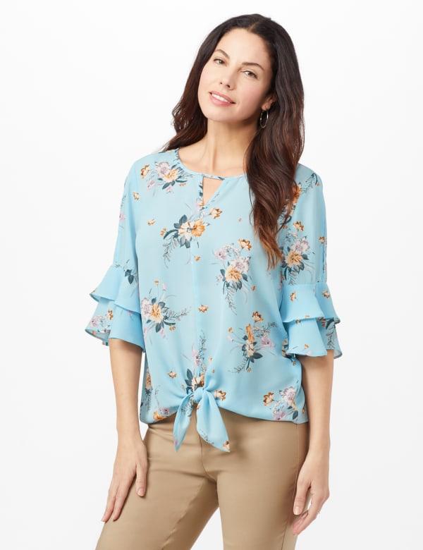 Pre-Order Cold Shoulder Floral Tie Front Blouse - Aqua - Front