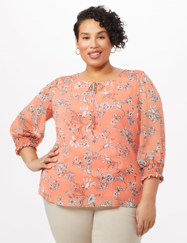 Floral Smock Shoulder Peasant Top - Coral - Front