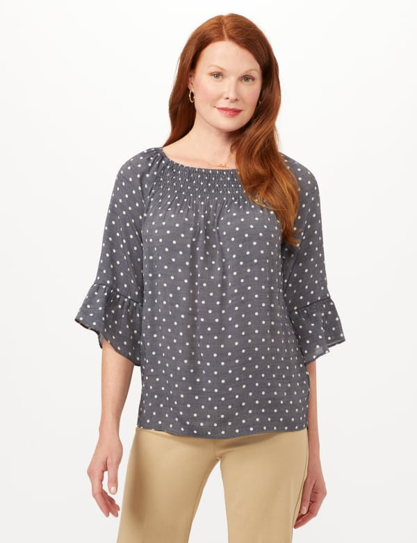 Smock Neck Texture Top - Navy/Sugarswizzle - Front