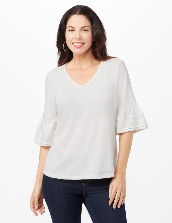 Ruffle Sleeve V-Neck Texture Knit Top - Sugar Swizzle - Front