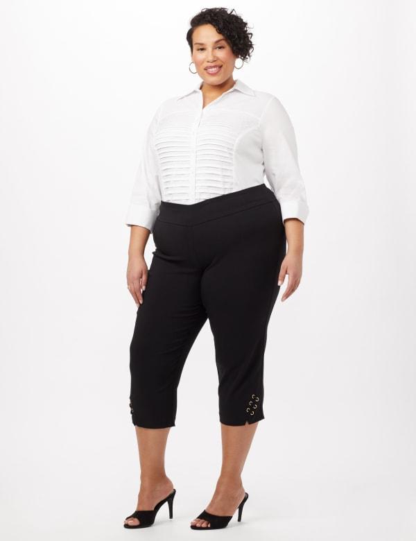 Pull-On Grommet Trim Crop Pants - Plus - Black - Front
