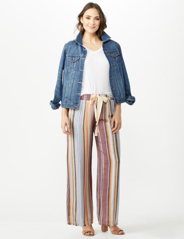 Stripe Slub Wide Leg Pull On Pant - Gold/Wine - Front
