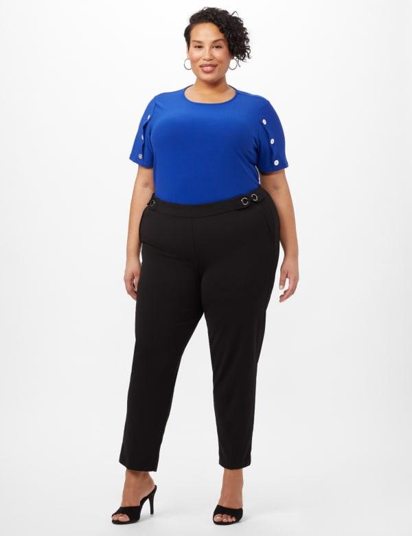 Pull-On Grommet Trim Crop Pants- Plus - Black - Front