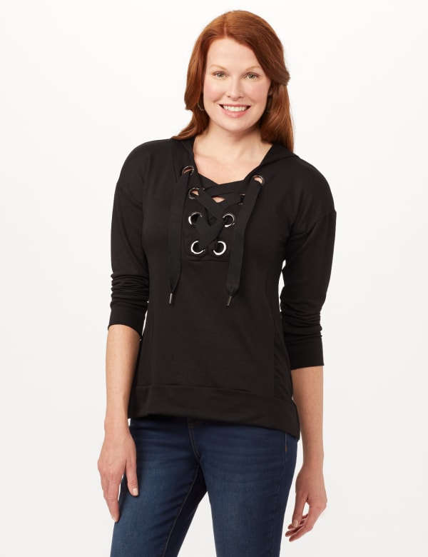 Long Sleeve Lace-up Knit Hoodie with Large Grommets - Black - Front