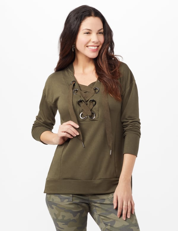 Long Sleeve Lace-up Knit Hoodie with Large Grommets - Jungle Drab - Front