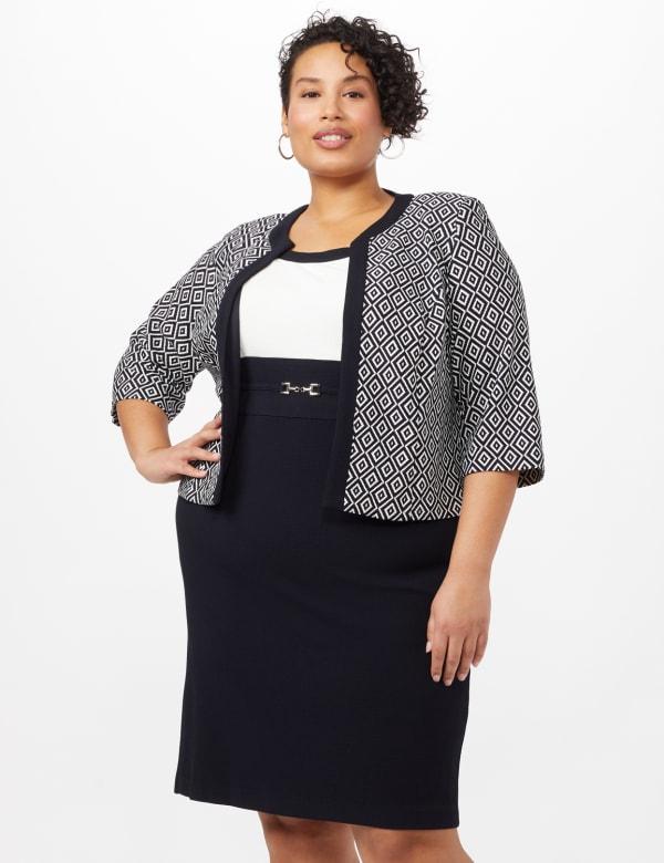 Textured Diamond Print Jacket Dress - Navy/Ivory - Front
