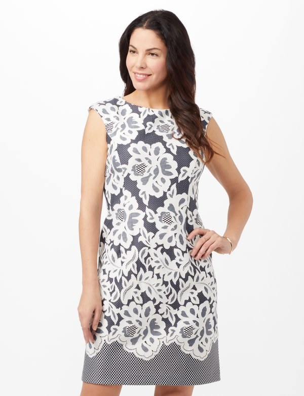 Lace Puff Print Scuba Dress - Navy/Ivory - Front