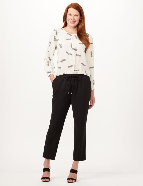 Elastic Drawstring Pull-On Pants - Black - Front