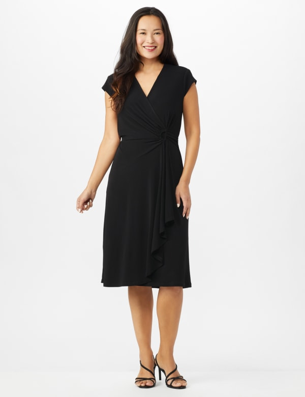 Faux Wrap Knit Crepe Dress - Mustard - Front