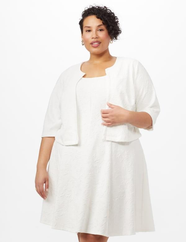 Floral Jacquard Jacket Dress - White - Front